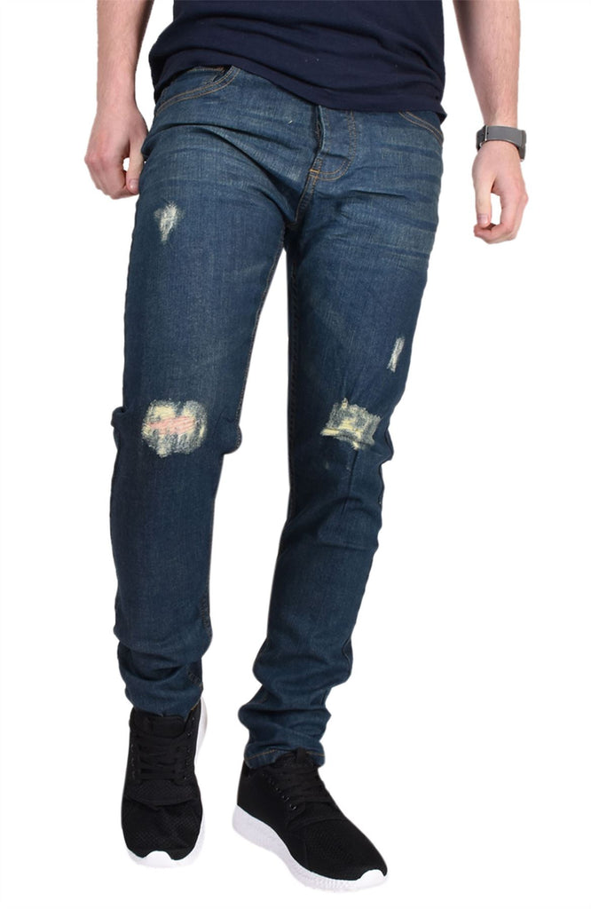 Mens Ripped Jeans Regular Fit Stretch Basic 5 Pocket Cotton Denim Distressed
