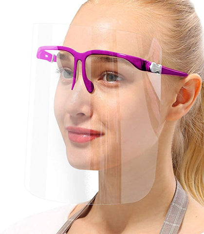 True Face Shield (Pack Of 10) Full Face Visor Glasses Purple Protection Purple 10 Pack