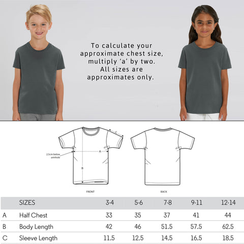 Children's Vegan Unisex T-Shirt - Sizing Guide