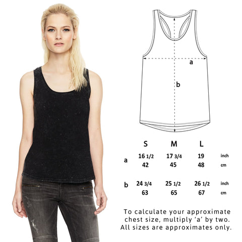 Women's Vegan Racerback Vest - Sizing Guide