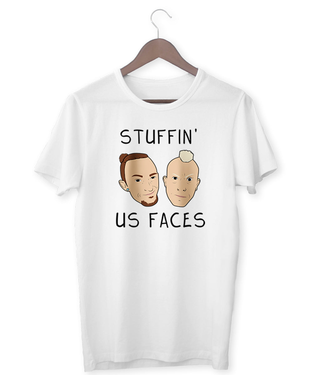 """Stuffin' Us Faces"" - Those Vegan Guys T-Shirt (Unisex)"