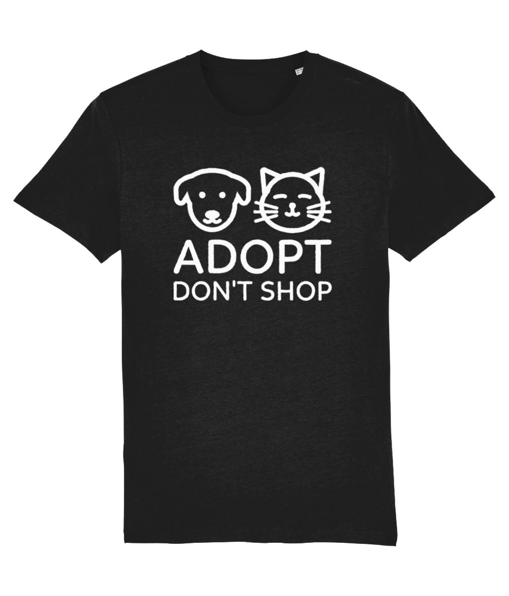 """Adopt, Don't Shop"" Vegan T-Shirt - 100% Organic Cotton (Unisex) Clothing Vegan Original Black XX-Small"