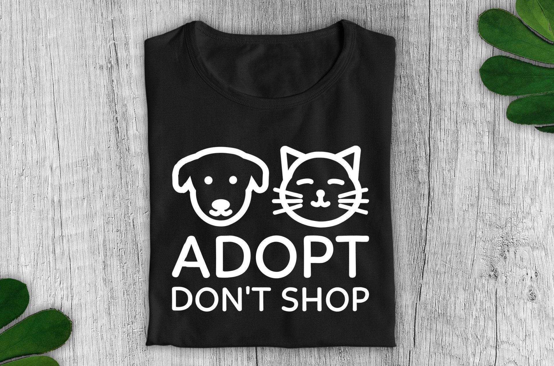 """Adopt, Don't Shop"" Vegan T-Shirt - 100% Organic Cotton (Unisex) Clothing Vegan Original"