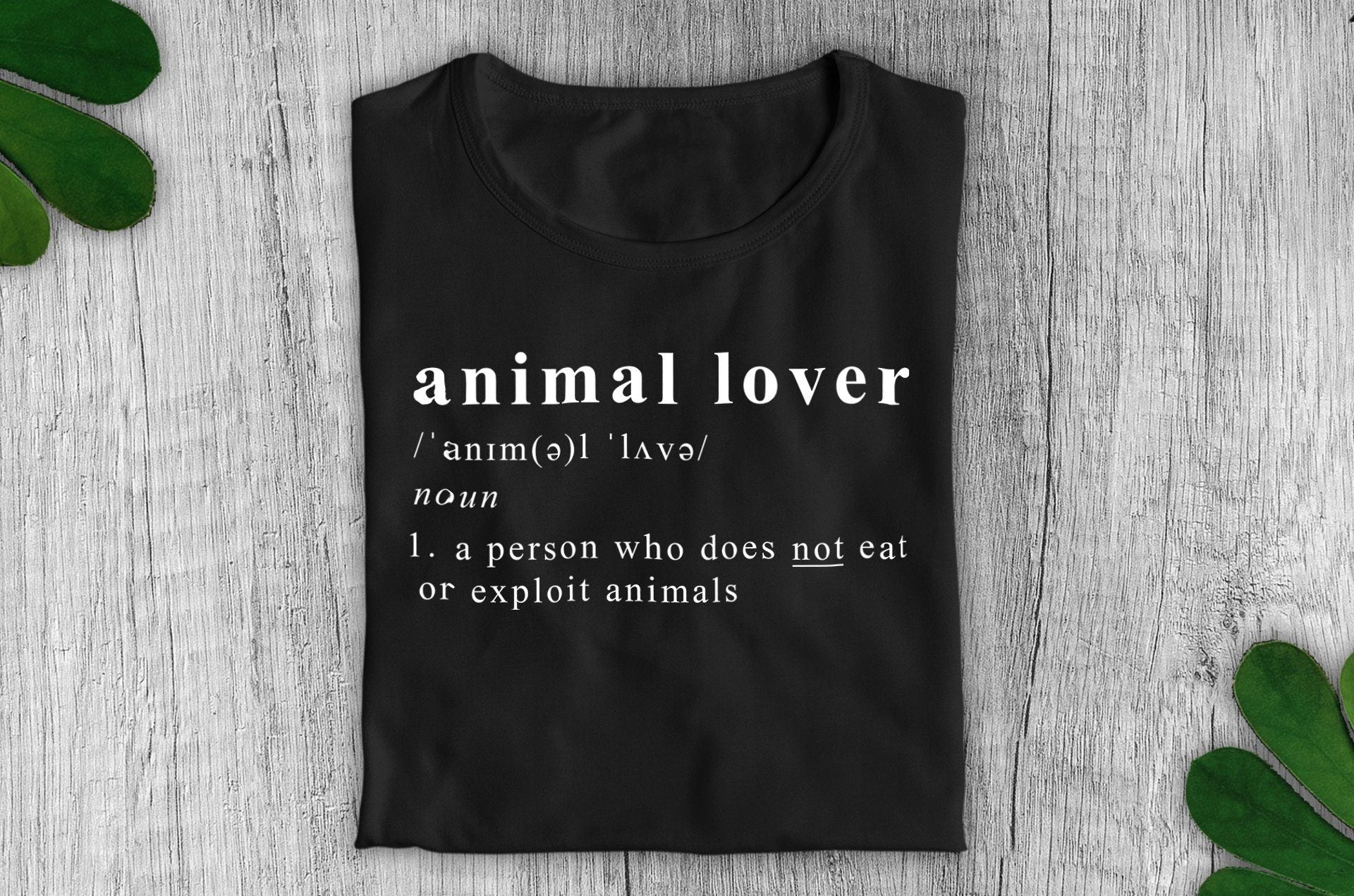 """Animal Lover Definition"" Vegan T-Shirt - 100% Organic Cotton (Unisex) Clothing Vegan Original"