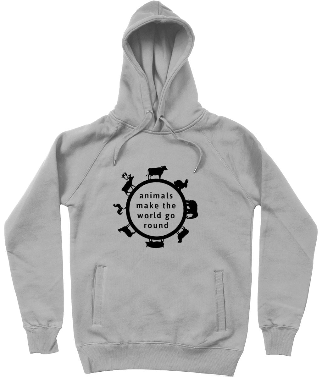 """Animals Make the World Go Round"" Vegan Hoodie - 100% Organic Cotton (Unisex) Clothing Vegan Original Melange Grey X-Small"