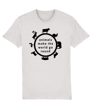 """Animals Make the World Go Round"" Vegan T-Shirt - 100% Organic Cotton (Unisex) Clothing Vegan Original Cream Heather Grey XX-Small"