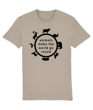 """Animals Make the World Go Round"" Vegan T-Shirt - 100% Organic Cotton (Unisex) Clothing Vegan Original Desert Dust X-Small"