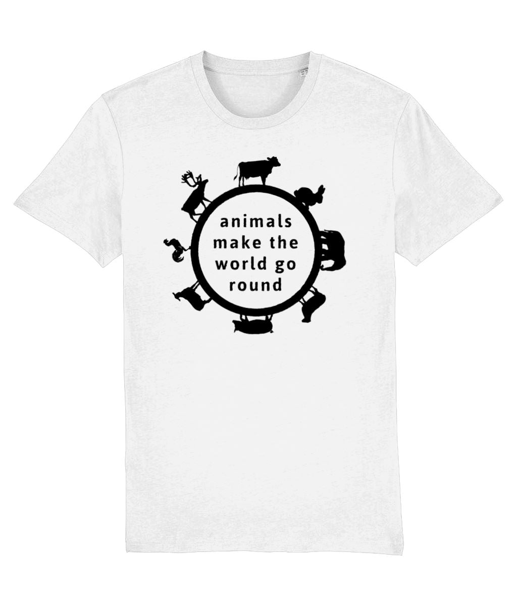 """Animals Make the World Go Round"" Vegan T-Shirt - 100% Organic Cotton (Unisex) Clothing Vegan Original White XX-Small"