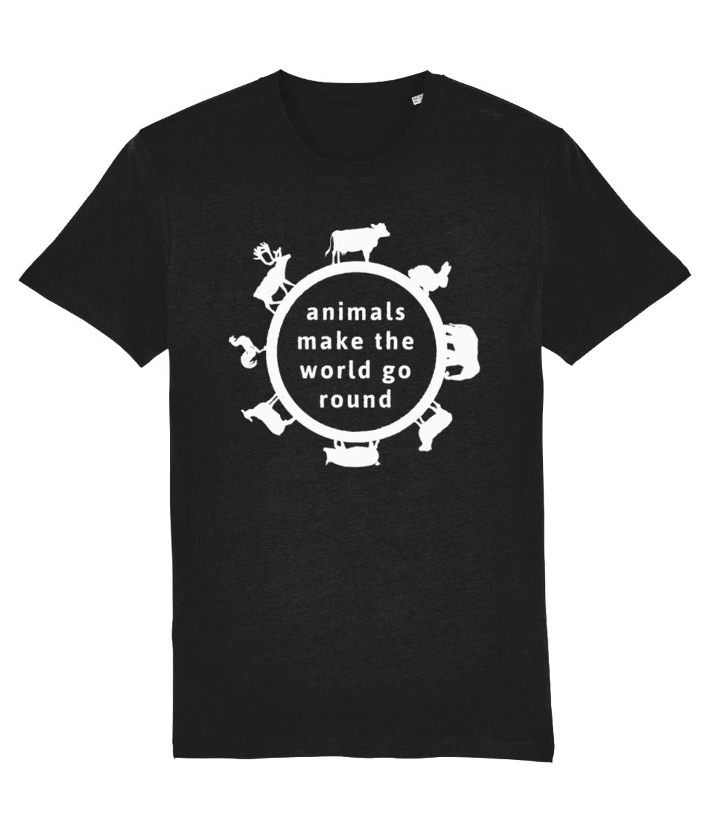 """Animals Make the World Go Round"" Vegan T-Shirt - Dark Colours (Unisex) Clothing Vegan Original Black XX-Small"