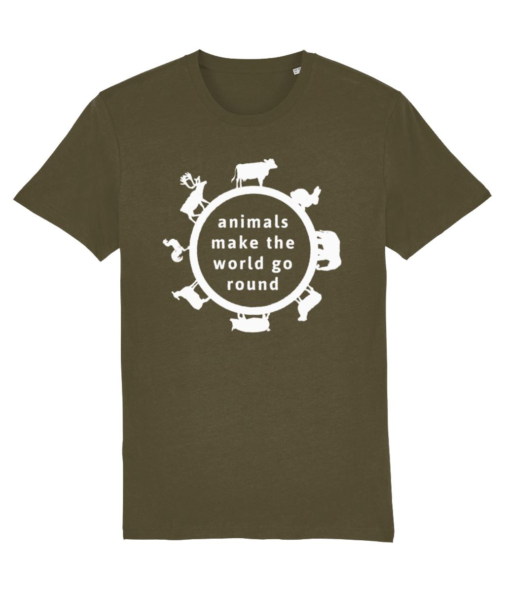 """Animals Make the World Go Round"" Vegan T-Shirt - Dark Colours (Unisex) Clothing Vegan Original British Khaki X-Small"