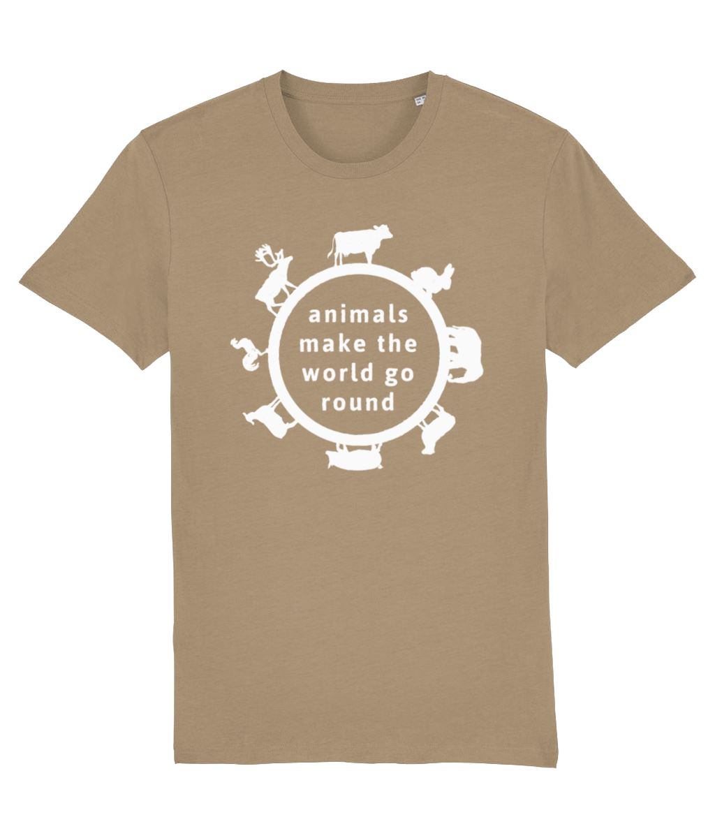 """Animals Make the World Go Round"" Vegan T-Shirt - Dark Colours (Unisex) Clothing Vegan Original Camel X-Small"