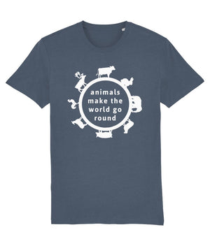 """Animals Make the World Go Round"" Vegan T-Shirt - Dark Colours (Unisex) Clothing Vegan Original Stargazer X-Small"