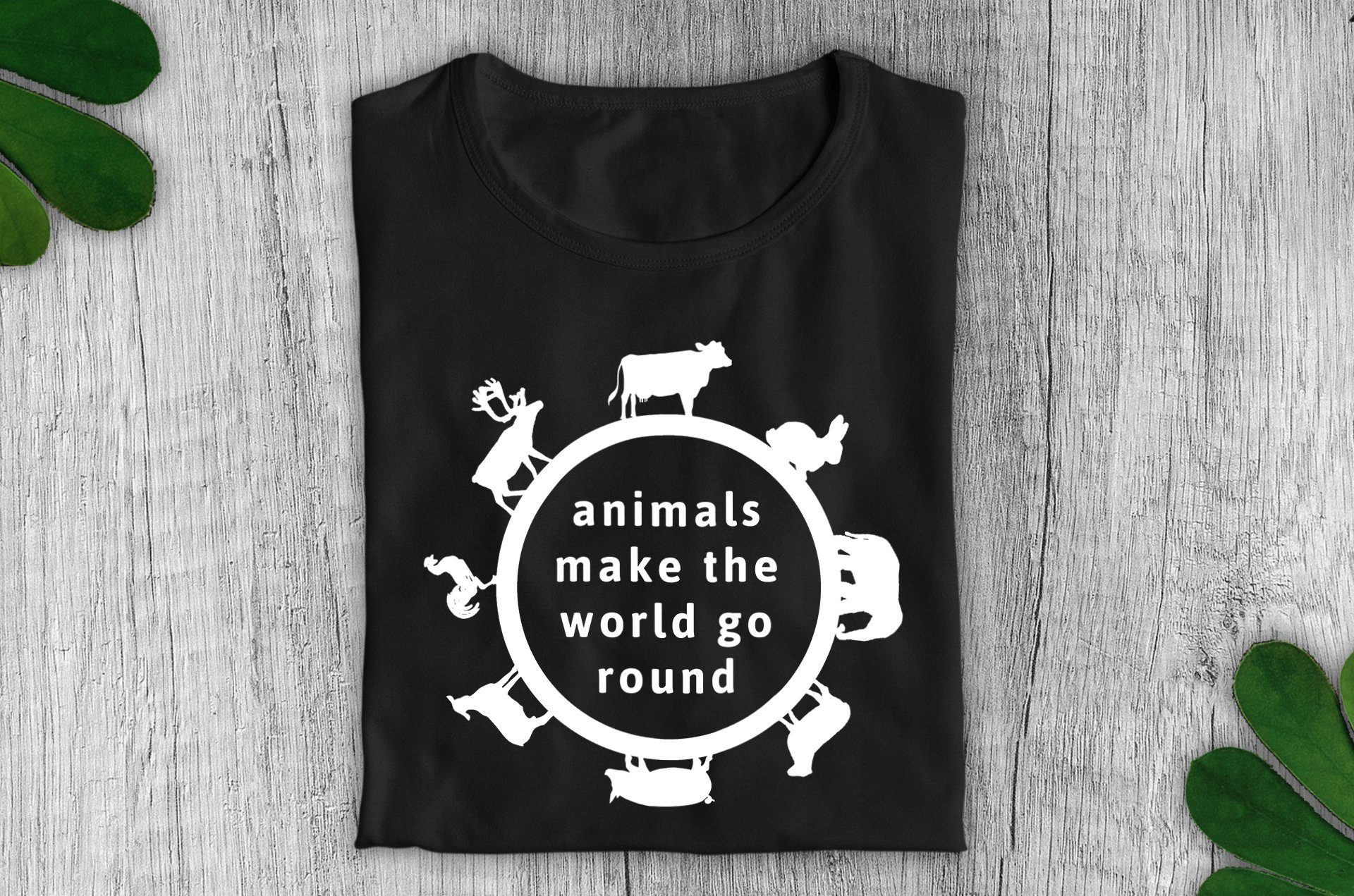 """Animals Make the World Go Round"" Vegan T-Shirt - Dark Colours (Unisex) Clothing Vegan Original"