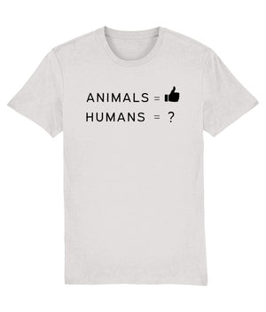 """Animals Thumbs Up"" Vegan T-Shirt - 100% Organic Cotton (Unisex) Clothing Vegan Original Cream Heather Grey XX-Small"