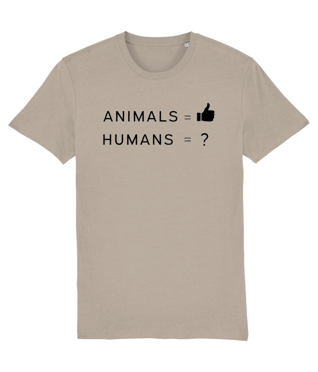 """Animals Thumbs Up"" Vegan T-Shirt - 100% Organic Cotton (Unisex) Clothing Vegan Original Desert Dust X-Small"