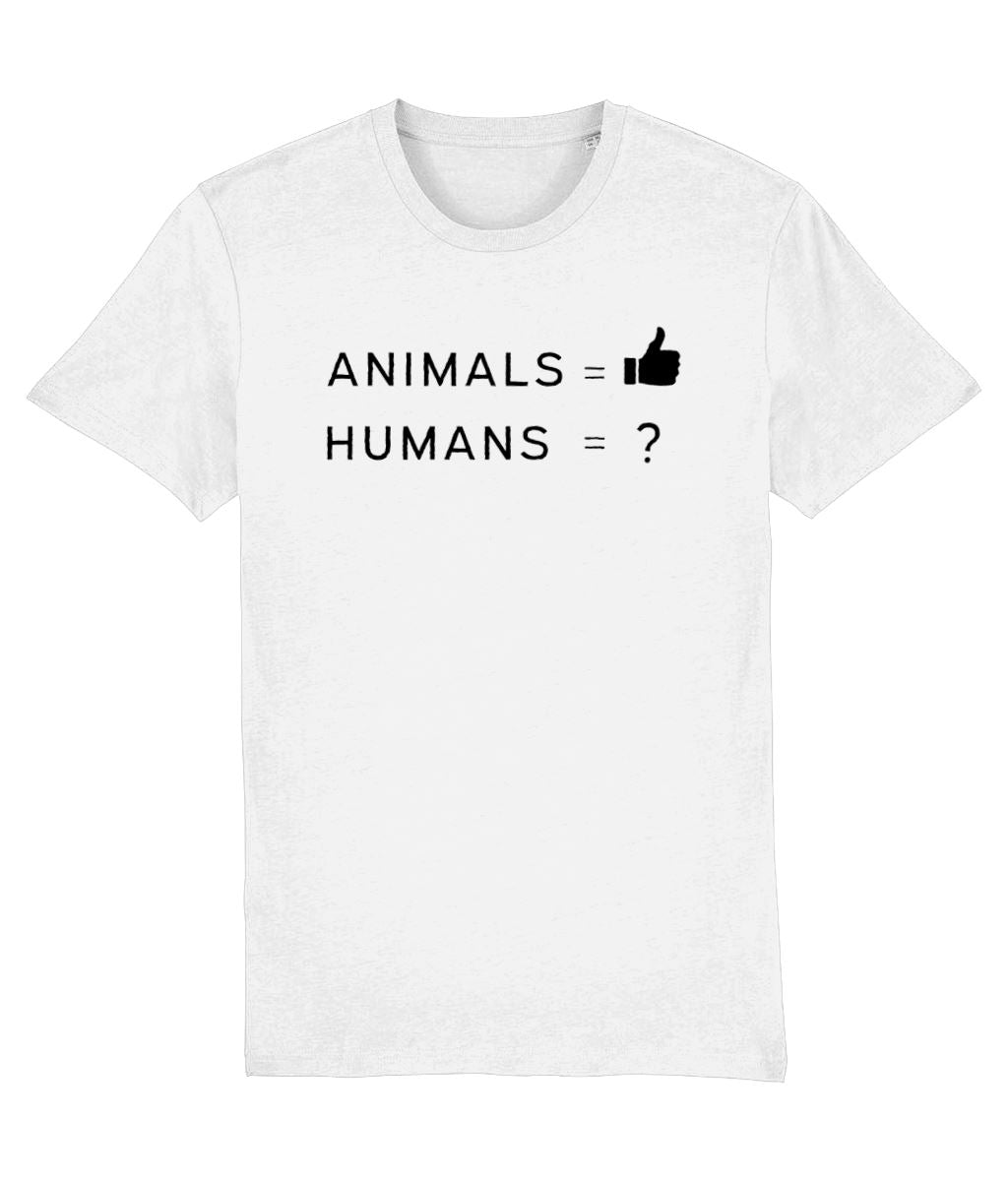 """Animals Thumbs Up"" Vegan T-Shirt - 100% Organic Cotton (Unisex) Clothing Vegan Original White XX-Small"