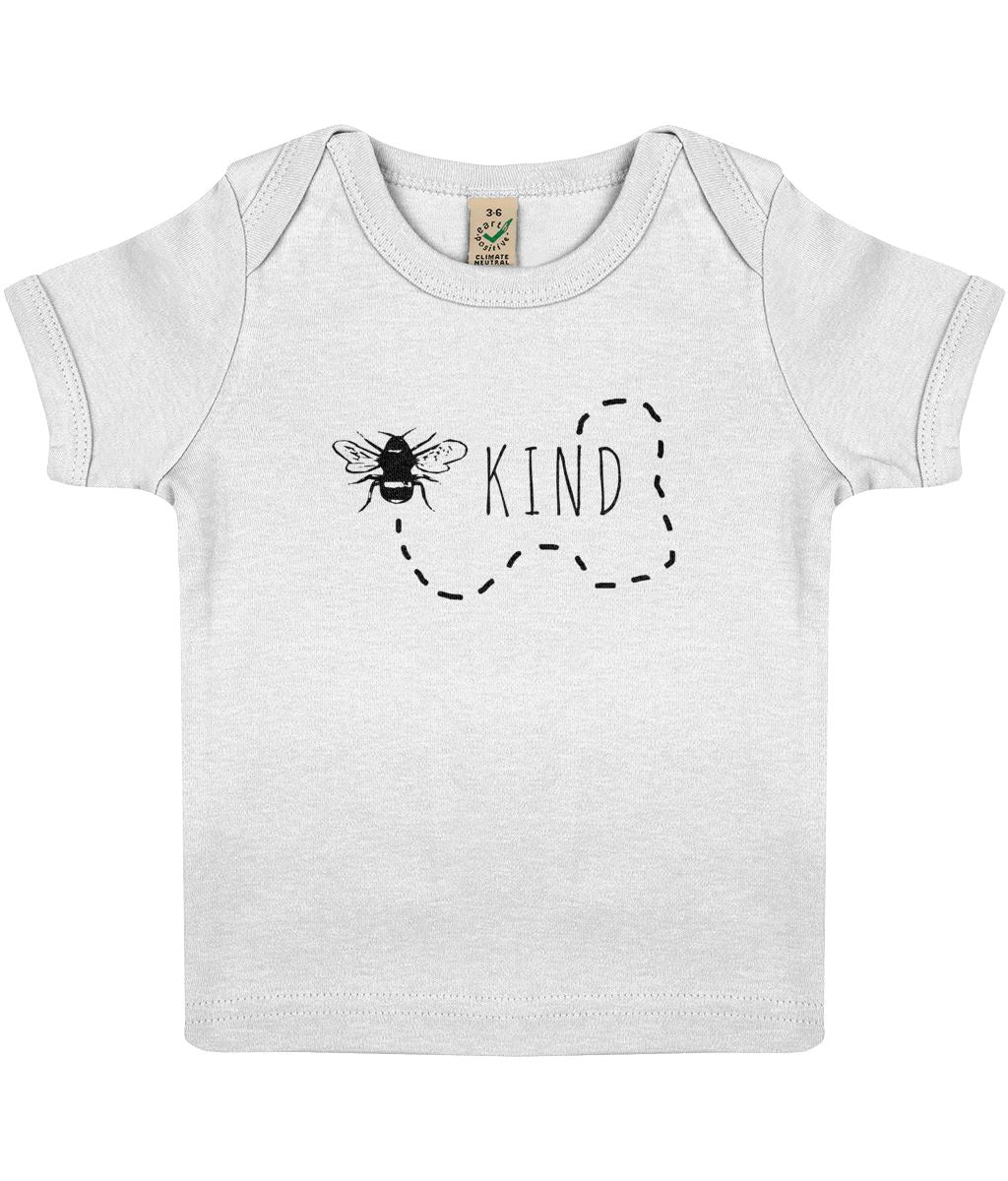 """Bee Kind"" Baby Lap Vegan T-Shirt Clothing Vegan Original 3-6 months White"