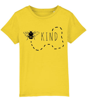"""Bee Kind"" Children's Vegan T-Shirt (Unisex) Clothing Vegan Original Golden Yellow 3-4 years"