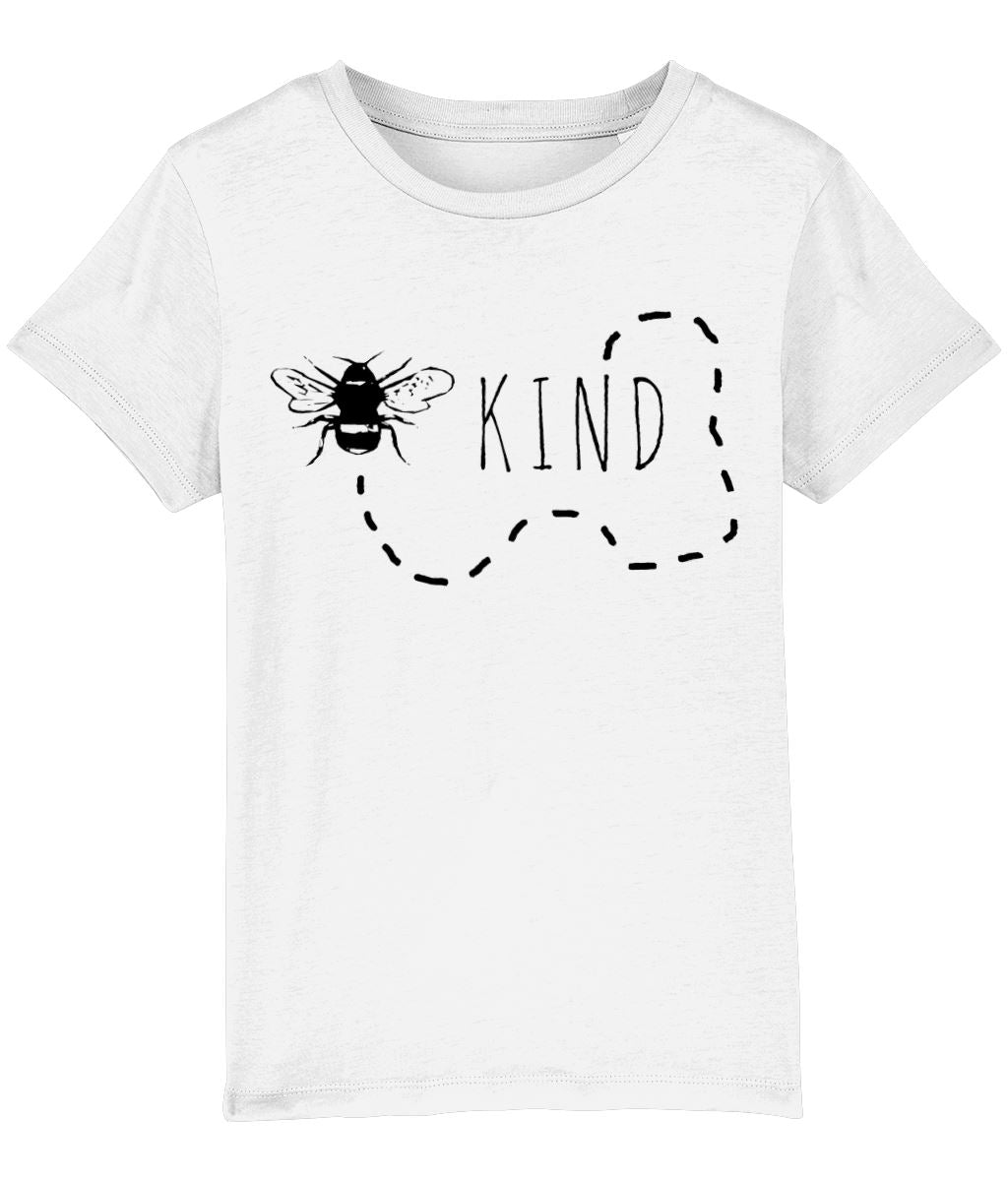 """Bee Kind"" Children's Vegan T-Shirt (Unisex) Clothing Vegan Original White 3-4 years"