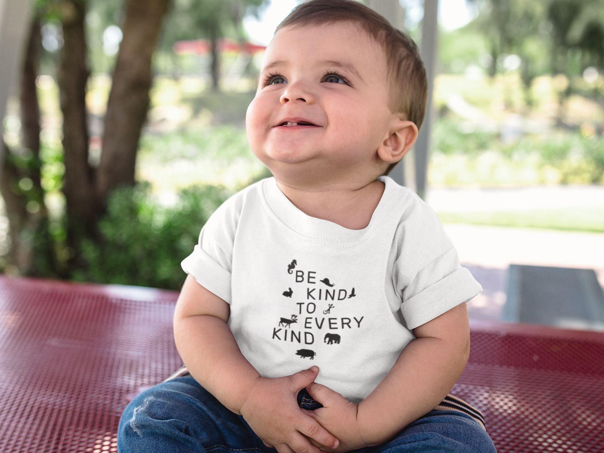 """Be Kind To Every Kind"" Baby Lap Vegan T-Shirt Clothing Vegan Original"