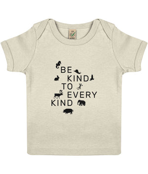 """Be Kind To Every Kind"" Baby Lap Vegan T-Shirt Clothing Vegan Original 3-6 months Ecru"