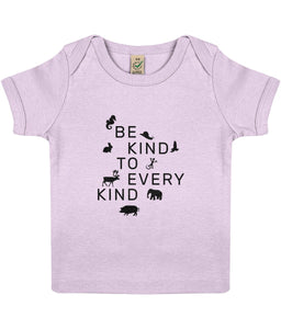 """Be Kind To Every Kind"" Baby Lap Vegan T-Shirt Clothing Vegan Original 3-6 months Powder Pink"