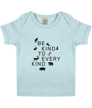 """Be Kind To Every Kind"" Baby Lap Vegan T-Shirt Clothing Vegan Original 3-6 months Soft Blue"
