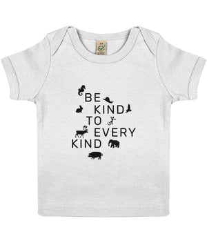 """Be Kind To Every Kind"" Baby Lap Vegan T-Shirt Clothing Vegan Original 3-6 months White"