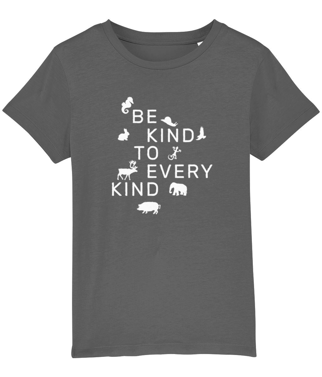 """Be Kind To Every Kind"" Children's Vegan T-Shirt (Unisex) Clothing Vegan Original Anthracite 3-4 years"