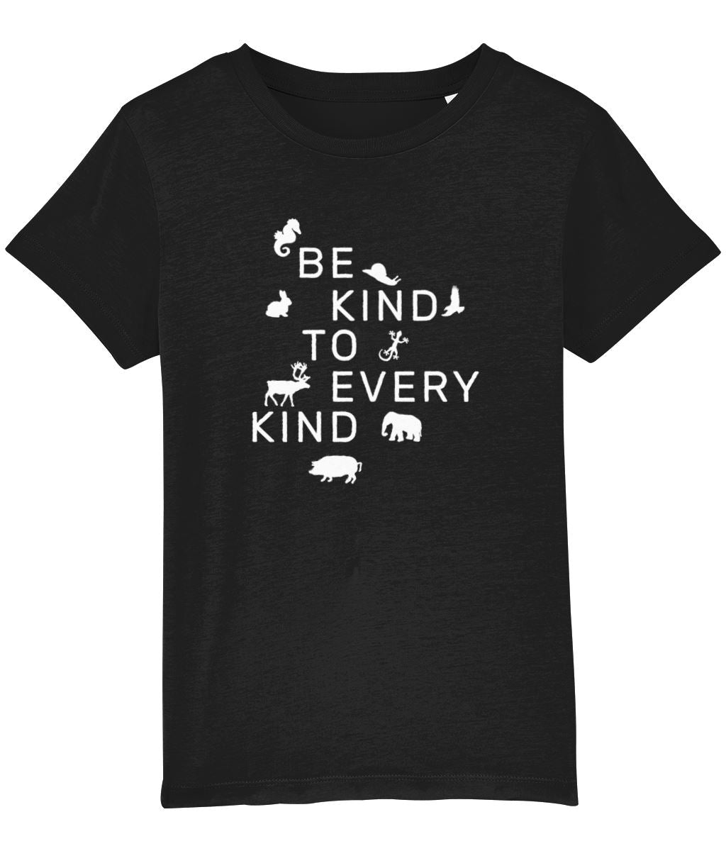 """Be Kind To Every Kind"" Children's Vegan T-Shirt (Unisex) Clothing Vegan Original Black 3-4 years"