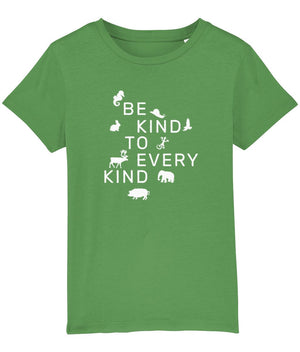 """Be Kind To Every Kind"" Children's Vegan T-Shirt (Unisex) Clothing Vegan Original Fresh Green 3-4 years"