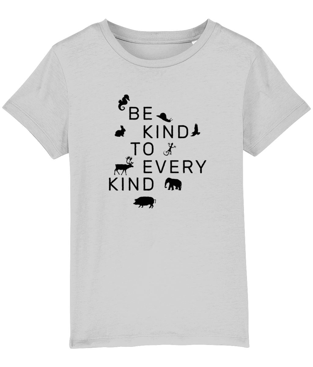 """Be Kind To Every Kind"" Children's Vegan T-Shirt (Unisex) Clothing Vegan Original Heather Grey 3-4 years"