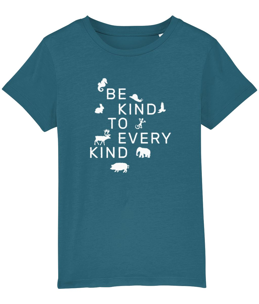 """Be Kind To Every Kind"" Children's Vegan T-Shirt (Unisex) Clothing Vegan Original Ocean Depth 3-4 years"
