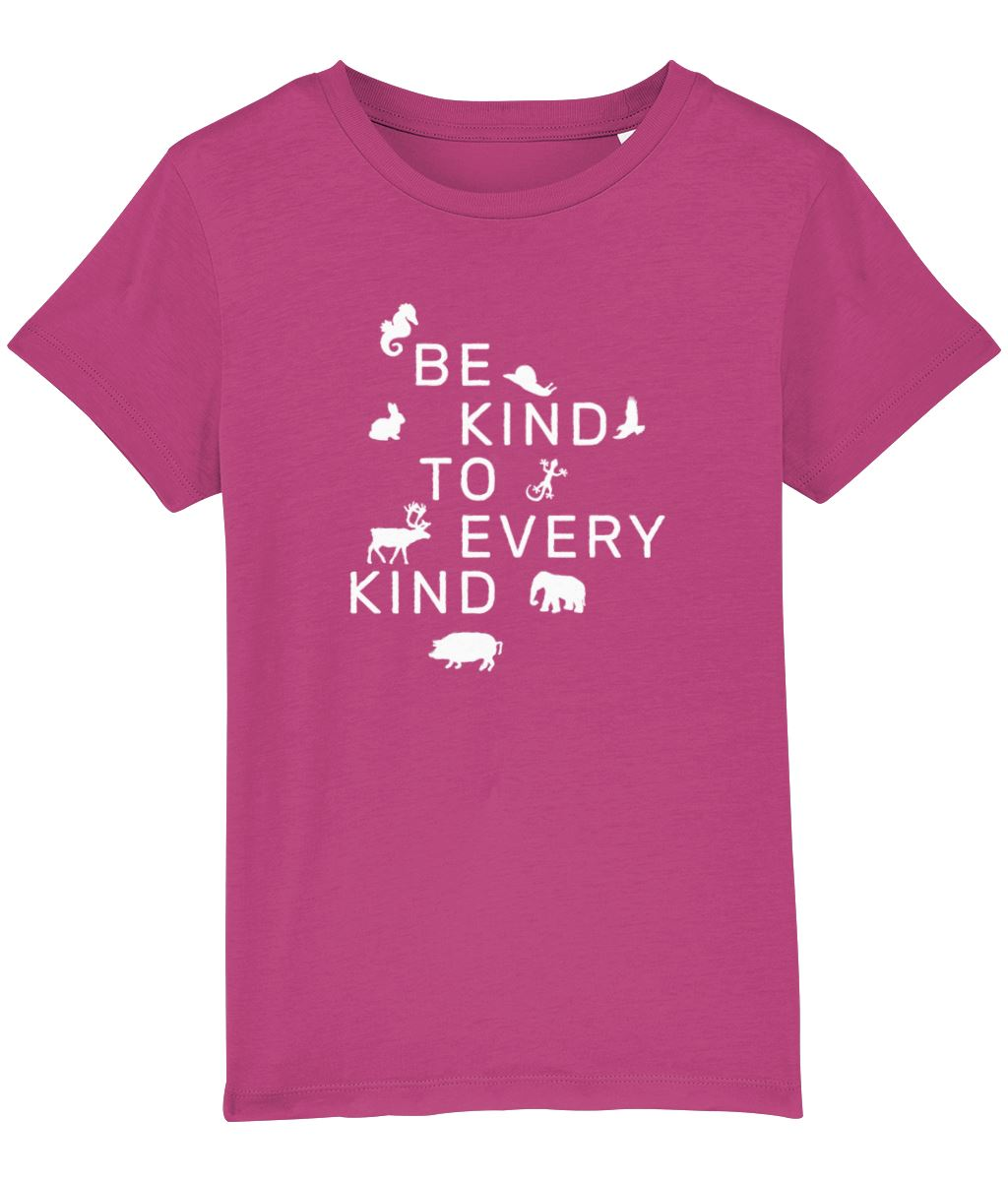 """Be Kind To Every Kind"" Children's Vegan T-Shirt (Unisex) Clothing Vegan Original Raspberry 3-4 years"