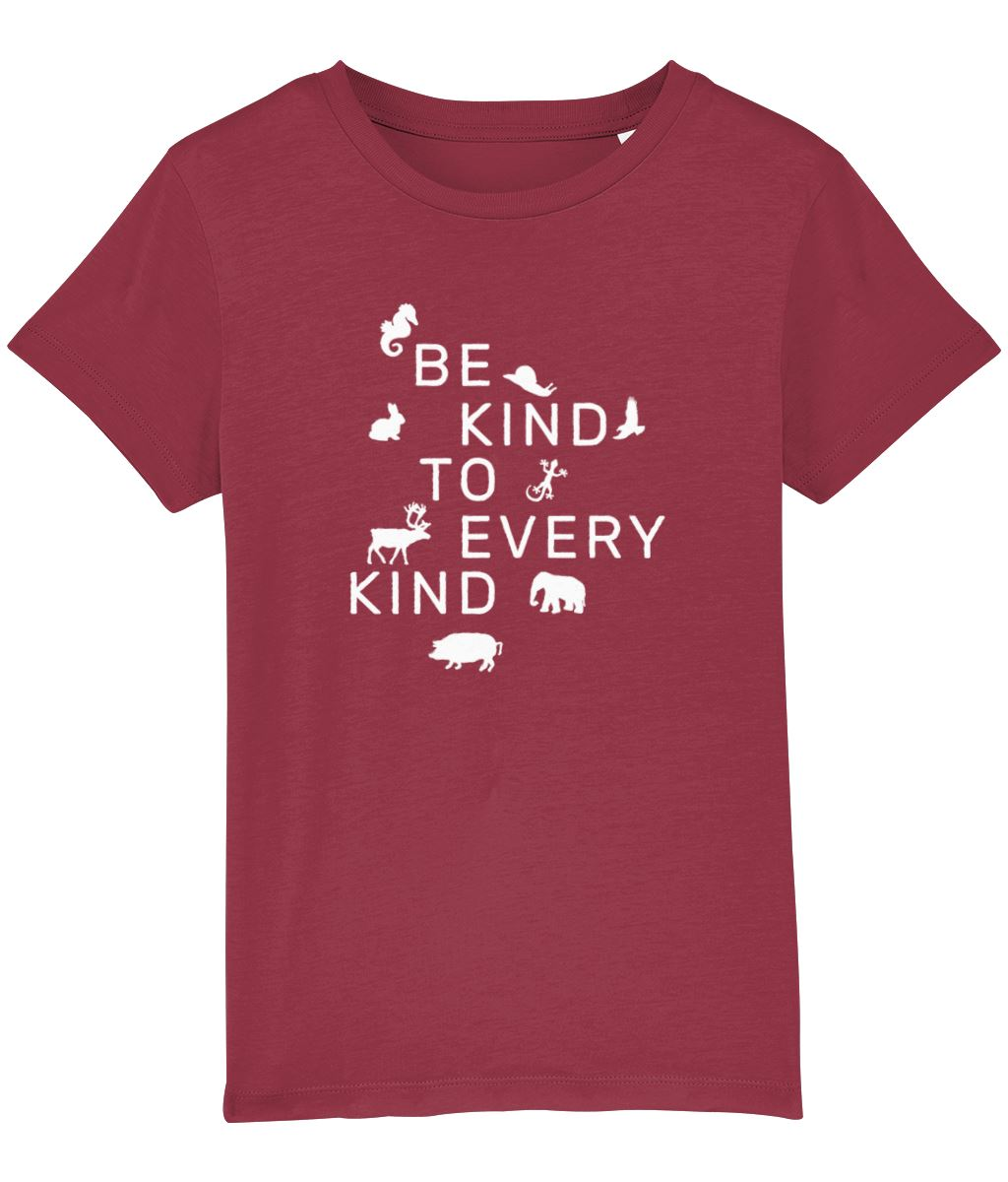 """Be Kind To Every Kind"" Children's Vegan T-Shirt (Unisex) Clothing Vegan Original Red 3-4 years"