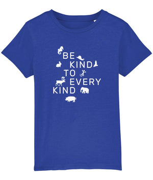 """Be Kind To Every Kind"" Children's Vegan T-Shirt (Unisex) Clothing Vegan Original Royal Blue 3-4 years"