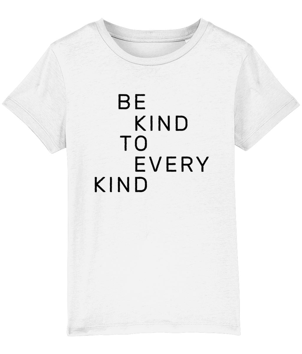 """Be Kind To Every Kind"" Children's Vegan T-Shirt (Unisex) Clothing Vegan Original White 3-4 years"