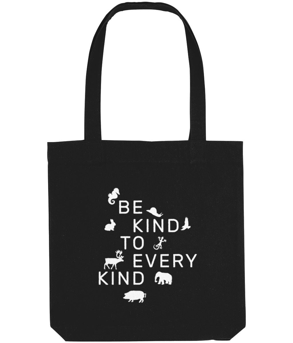 """Be Kind To Every Kind"" Vegan Tote Bag Clothing Vegan Original Black"