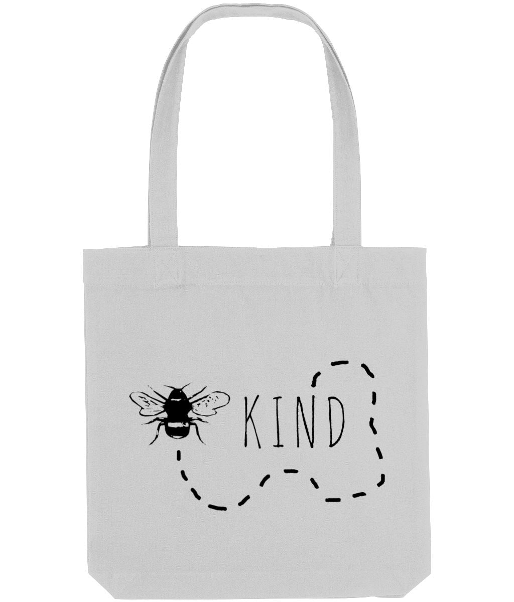 """Bee Kind"" Trail Vegan Tote Bag Clothing Vegan Original Heather Grey"