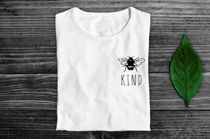 """Bee Kind"" Smart Vegan T-Shirt- 100% Organic Cotton (Unisex) Clothing Vegan Original"