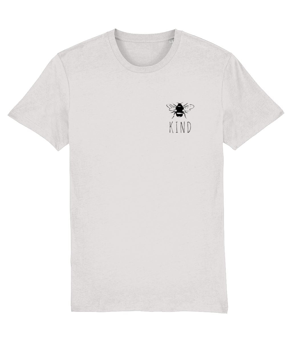 """Bee Kind"" Smart Vegan T-Shirt- 100% Organic Cotton (Unisex) Clothing Vegan Original Cream Heather Grey XX-Small"
