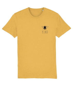 """Bee Kind"" Smart Vegan T-Shirt- 100% Organic Cotton (Unisex) Clothing Vegan Original Spectra Yellow X-Small"