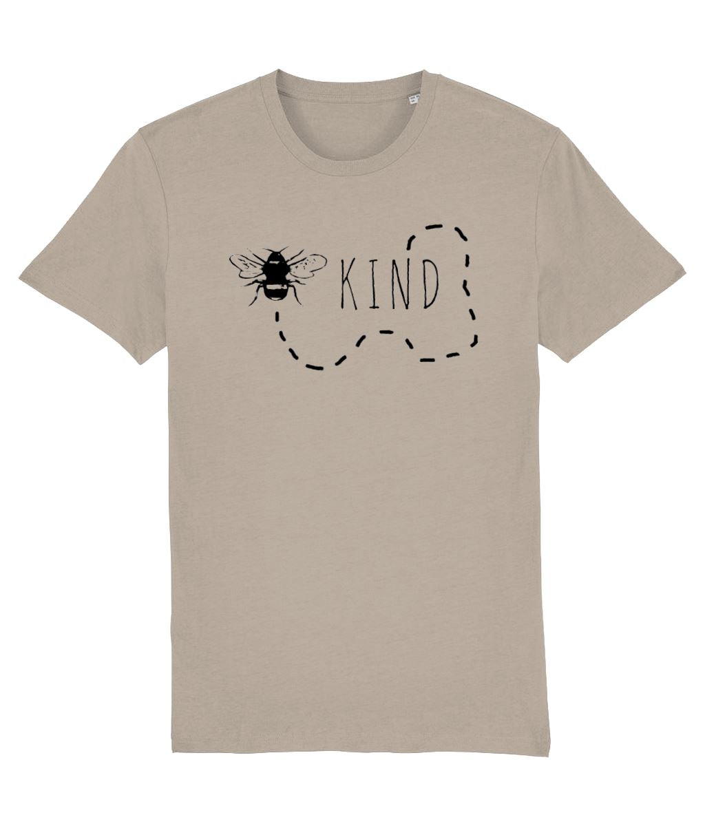 """Bee Kind"" Vegan T-Shirt - 100% Organic Cotton (Unisex) Clothing Vegan Original Desert Dust X-Small"