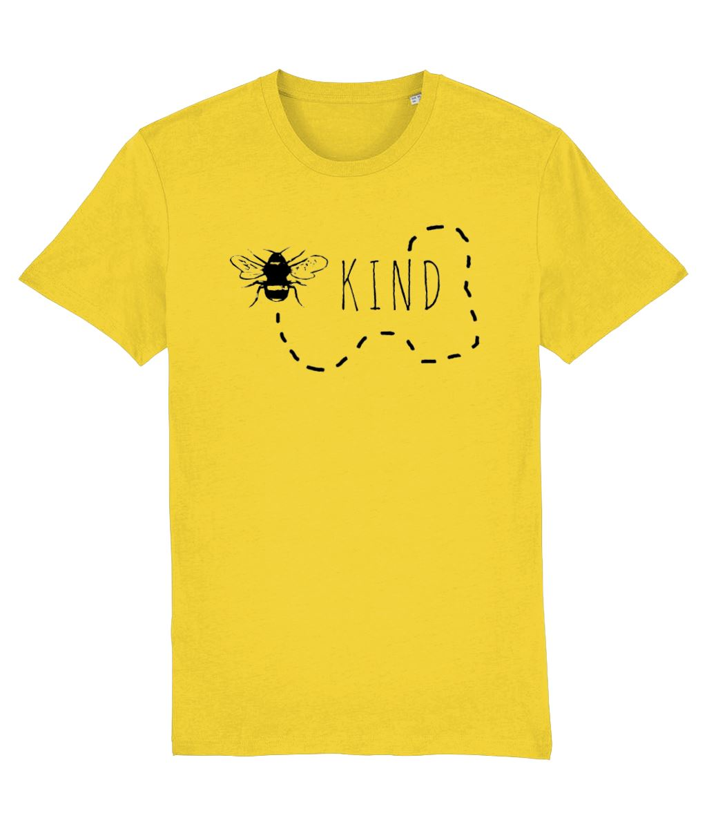 """Bee Kind"" Vegan T-Shirt - 100% Organic Cotton (Unisex) Clothing Vegan Original Golden Yellow X-Small"
