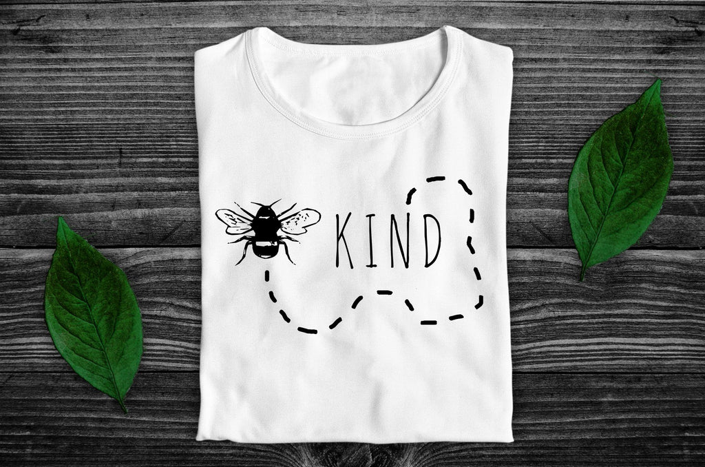"""Bee Kind"" Vegan T-Shirt - 100% Organic Cotton (Unisex) Clothing Vegan Original"