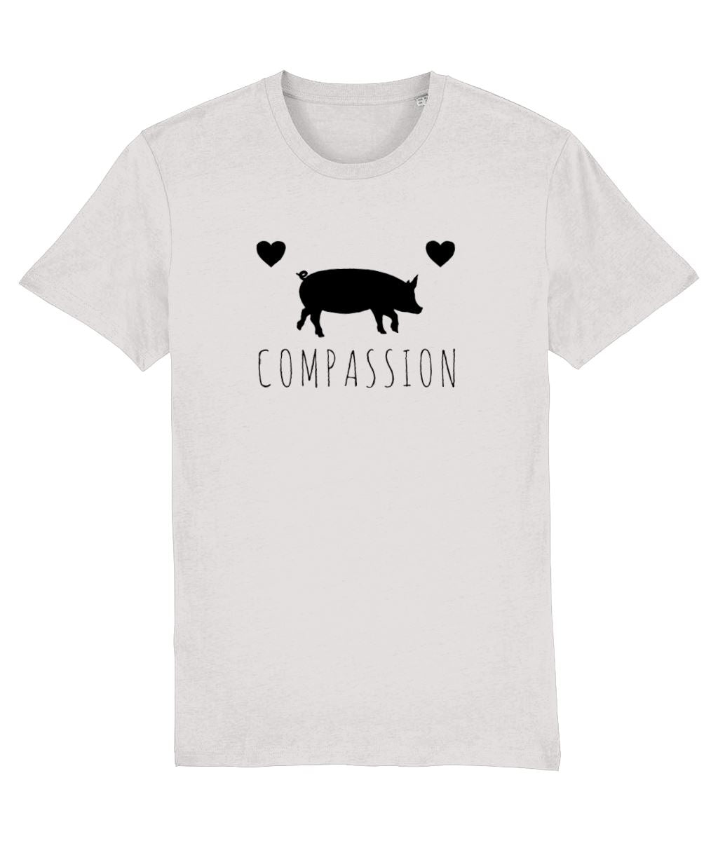 """Compassion"" Vegan T-Shirt - 100% Organic Cotton (Unisex) Clothing Vegan Original Cream Heather Grey XX-Small"