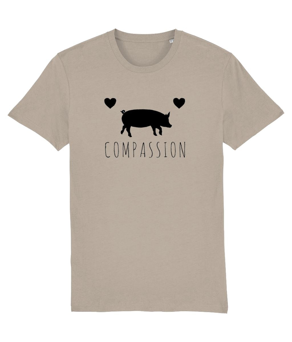 """Compassion"" Vegan T-Shirt - 100% Organic Cotton (Unisex) Clothing Vegan Original Desert Dust X-Small"