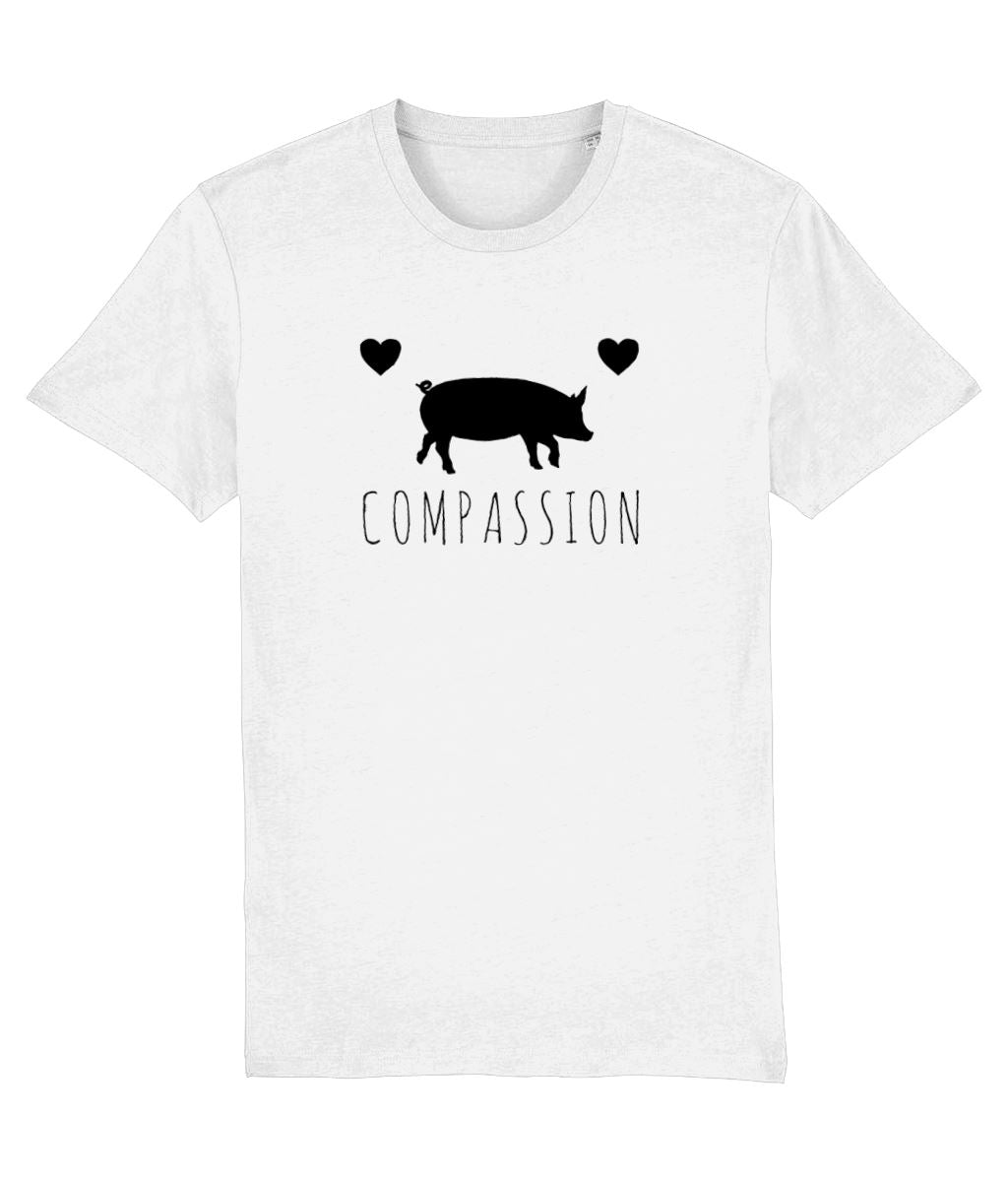 """Compassion"" Vegan T-Shirt - 100% Organic Cotton (Unisex) Clothing Vegan Original White XX-Small"