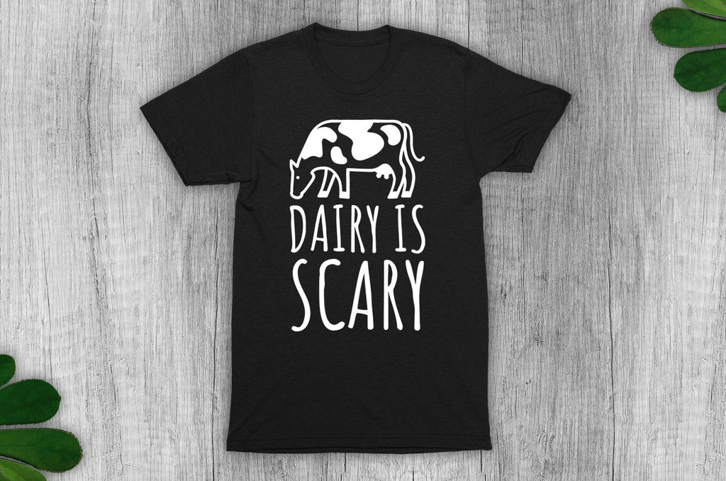 """Dairy Is Scary"" Vegan T-Shirt - 100% Organic Cotton (Unisex) Clothing Vegan Original"