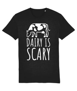 """Dairy Is Scary"" Vegan T-Shirt - 100% Organic Cotton (Unisex) Clothing Vegan Original Black XX-Small"